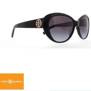 TORY BURCH Cat Eye Black TY 7005 Logo Sunglasses